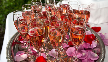 Tray of Kir Roale drinks by Normandy Catering at a bridal shower