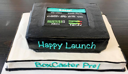 BoxCaster Pro product launch cake