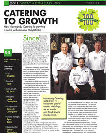 Normandy Catering is one of Weatherhead's 100 fastest growing companies
