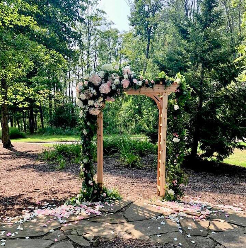 Rustic Wooden Arbor at Backyard WEdding